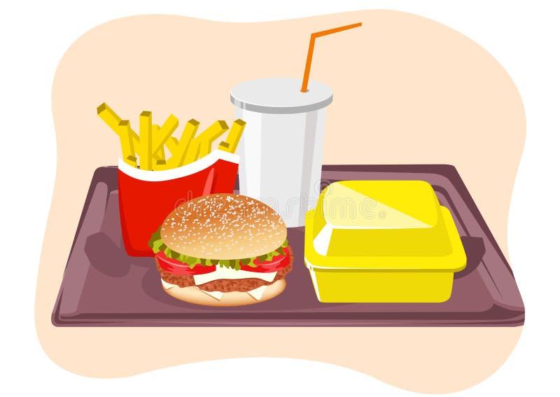 Bocados comunes de los alimentos de preparación rápida en la bandeja stock de ilustración