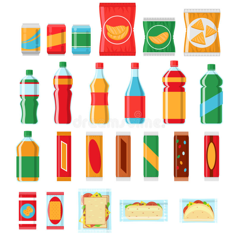 Bocados de los alimentos de preparación rápida e iconos planos del vector de las bebidas Productos de la máquina expendedora stock de ilustración