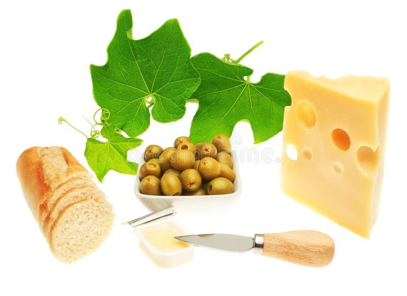 Bocados para el queso, el pan, la fruta y las verduras del vino. foto de archivo