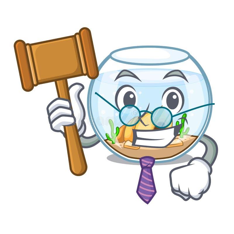 Bocal à poissons de juge dans un drôle sur la bande dessinée illustration stock