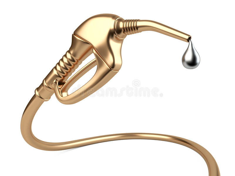 Bocal da bomba de combustível do ouro com óleo da gota ilustração do vetor