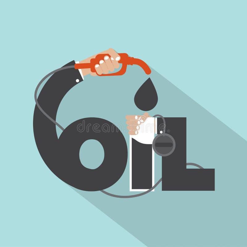 Bocal de combustível à disposição com projeto da tipografia do óleo ilustração stock