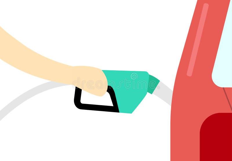 Bocal de combustível da posse da mão Reabasteça a arte do vetor do serviço ilustração stock