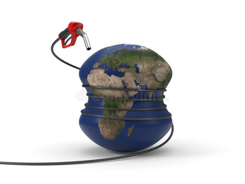 Bocal de combustível vermelho que espreme a terra ilustração 3D ilustração do vetor