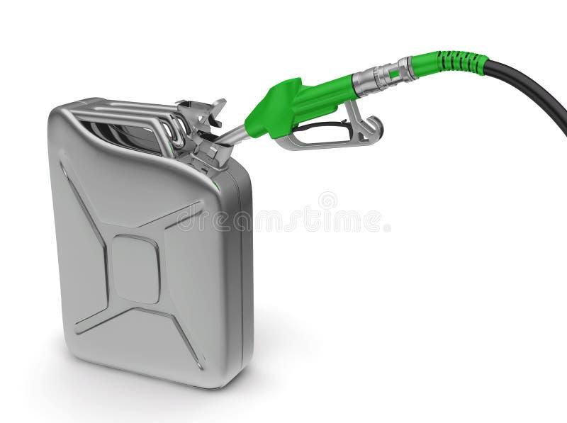 Bocal e bidão da bomba de gás no fundo branco. ilustração stock