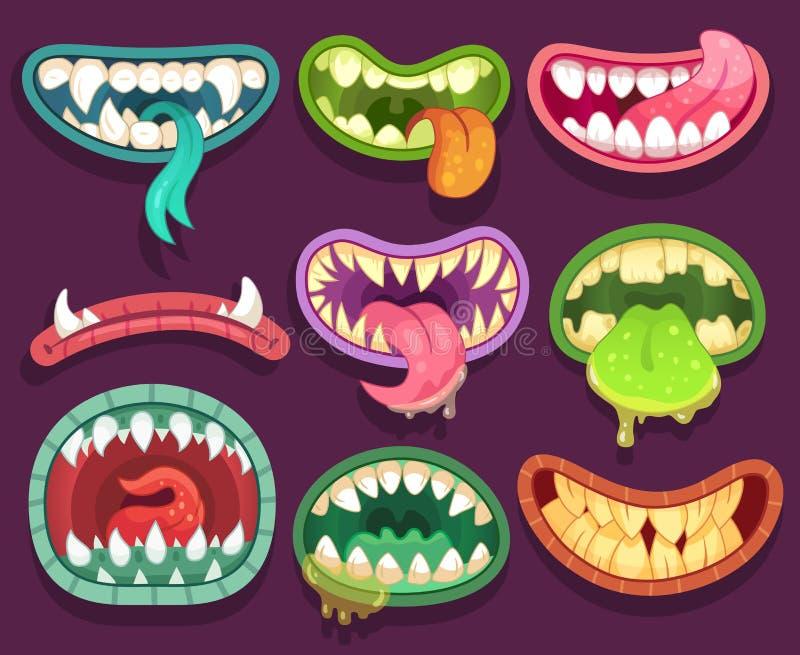 Bocas de los monstruos Dientes y lengua asustadizos del monstruo de Halloween en boca Mandíbulas divertidos y estómagos locos de  ilustración del vector