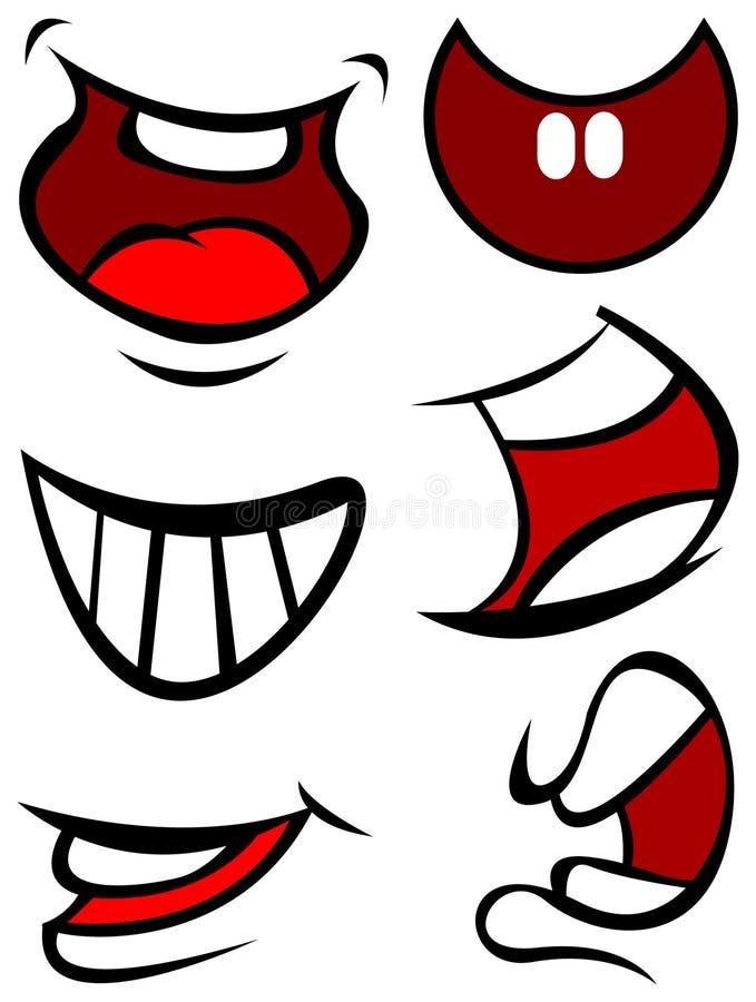 Bocas engraçadas do sorriso ilustração do vetor