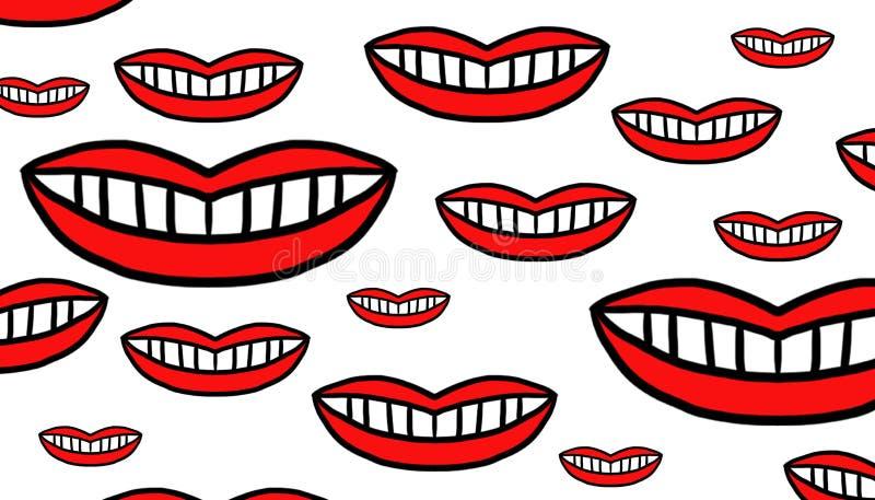 Bocas vermelhas de tamanhos diferentes ilustração stock