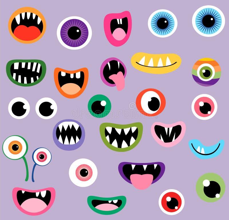 Bocas y ojos fantasmagóricos del vector del monstruo stock de ilustración