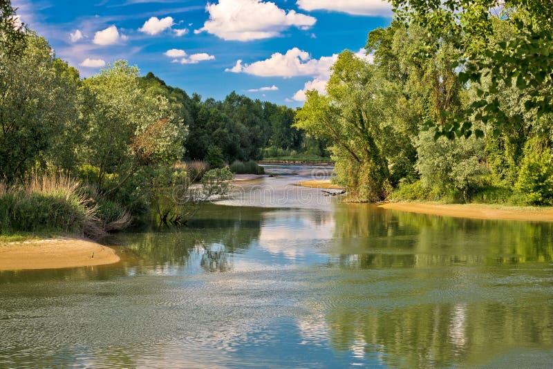 Bocca dei fiumi di Mura e del Drava in Podravina fotografia stock libera da diritti