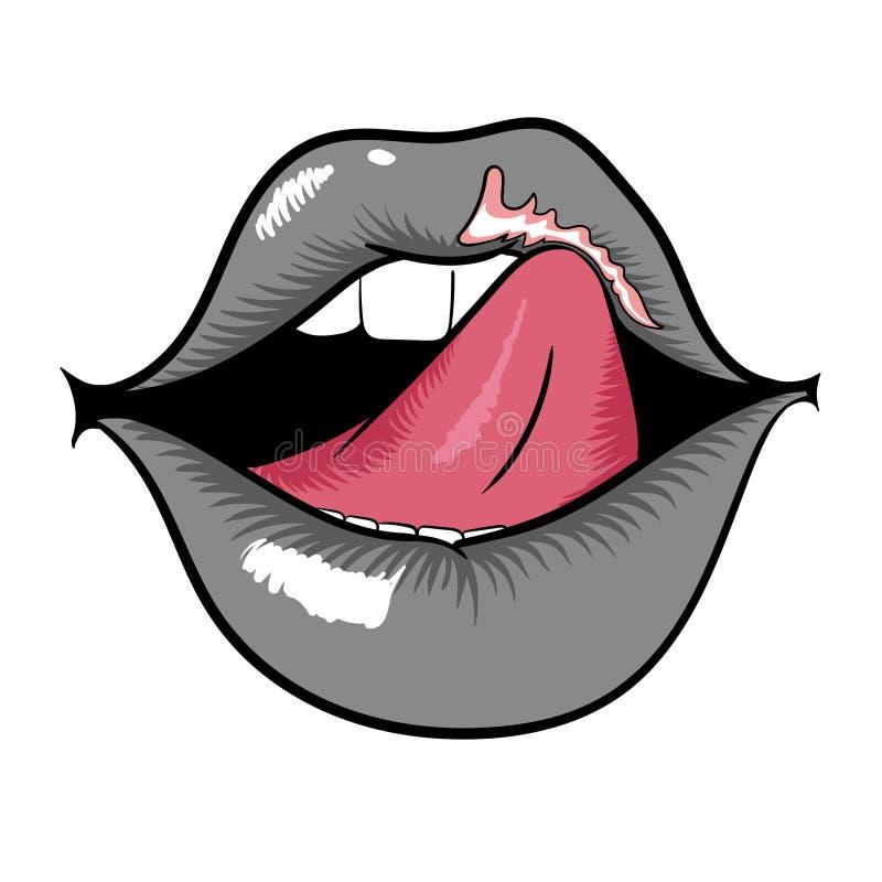 Bocca della donna con le labbra e la lingua grige di leccatura immagine stock
