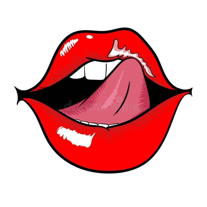 Bocca della donna con le labbra e la lingua rosse di leccatura immagine stock