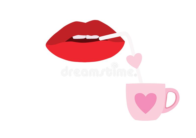 Bocca di aspirazione con una tazza a forma di del cuore royalty illustrazione gratis
