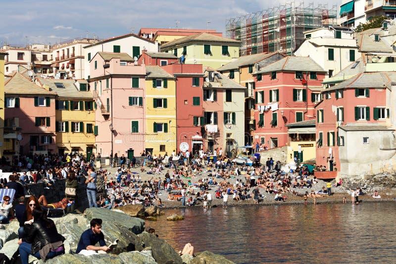 Boccadasse,热那亚,意大利 免版税库存照片