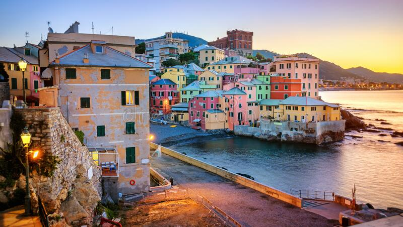 Boccadasse, an old neighbourhood of Genoa city, Italy royalty free stock image