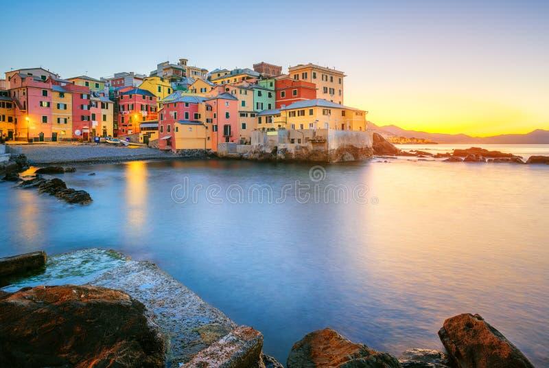Boccadasse on sunrise, Genoa city, Italy royalty free stock photography