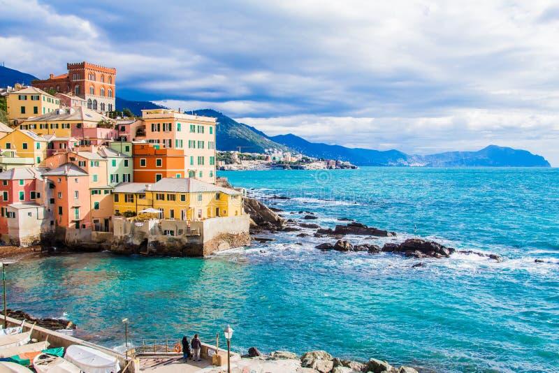 Boccadasse, un secteur de Gênes en Italie image stock