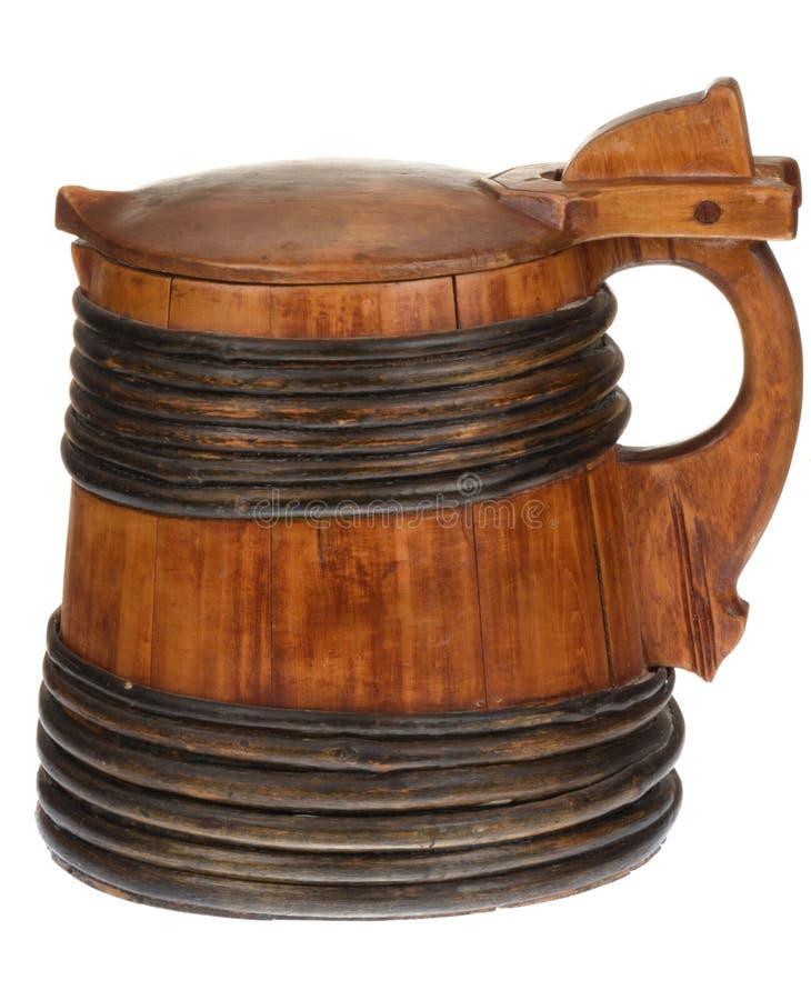 Boccale con coperchio di legno con il coperchio fotografie stock libere da diritti
