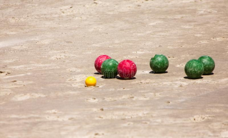 Bocce Balls on Beach stock images