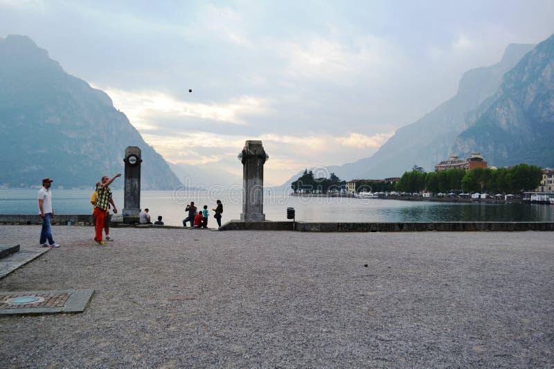 Boccespel in Lecco lakefront royalty-vrije stock foto