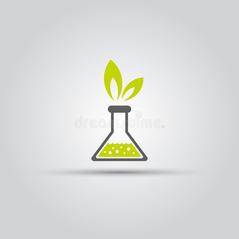 Boccetta chimica ed icona verde delle foglie royalty illustrazione gratis