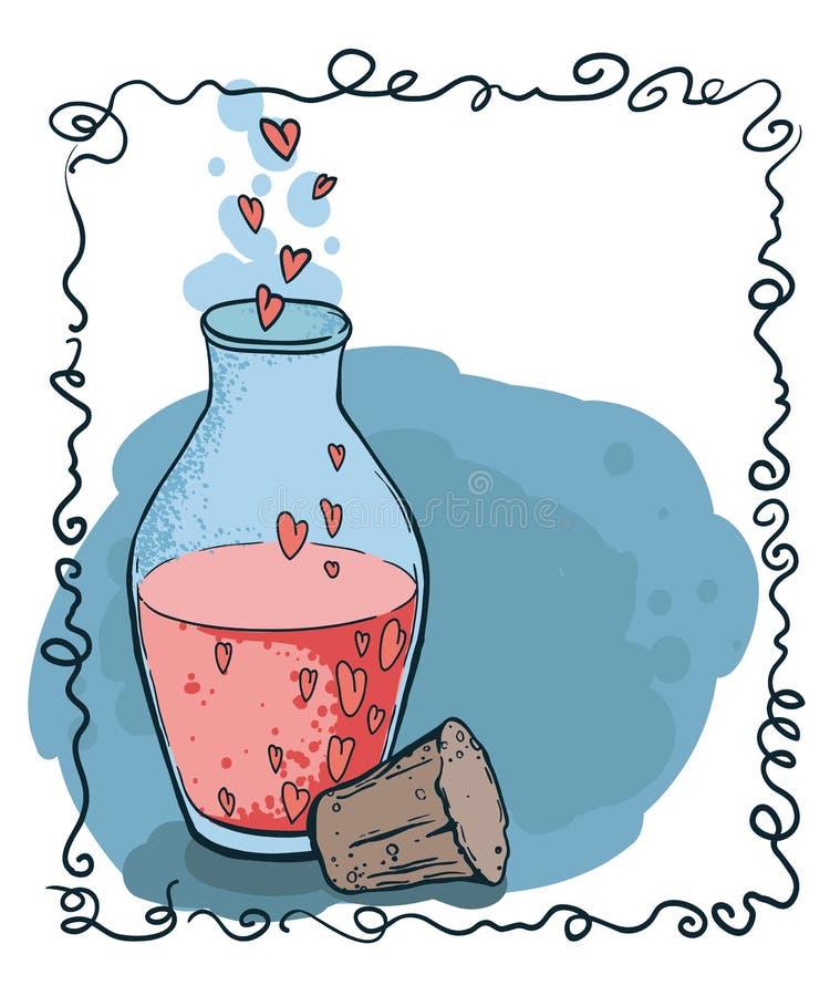 Boccetta con stile disegnato dell'icona dei cuori a disposizione Elisir di amore illustrazione vettoriale