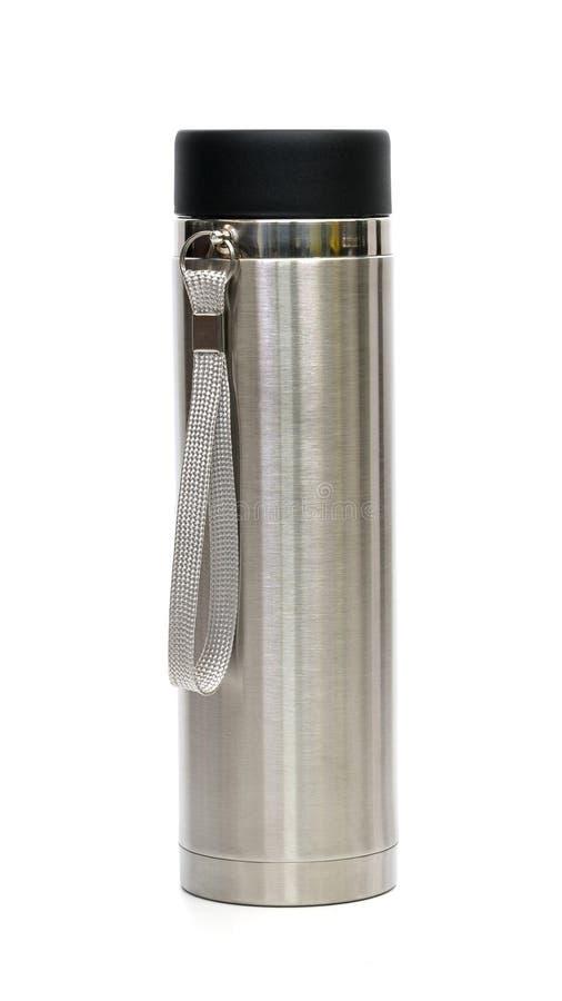 Boccetta del termos di acciaio inossidabile isolata su fondo bianco fotografia stock libera da diritti