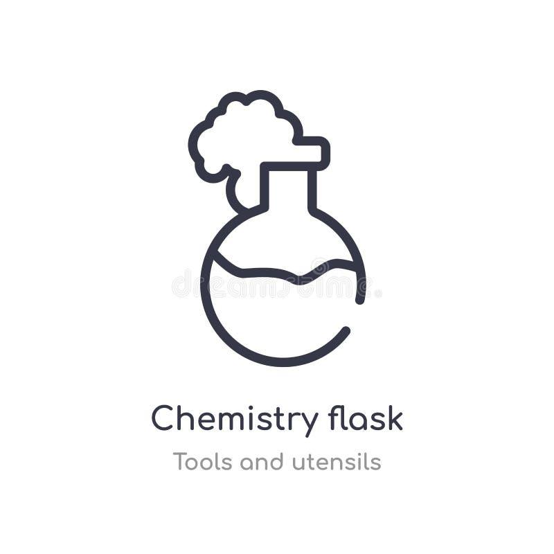 boccetta di chimica con l'icona liquida del profilo linea isolata illustrazione di vettore dalla raccolta degli utensili e degli  illustrazione di stock