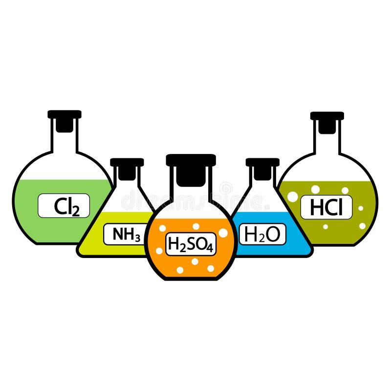 Boccette del laboratorio con i prodotti chimici illustrazione di stock