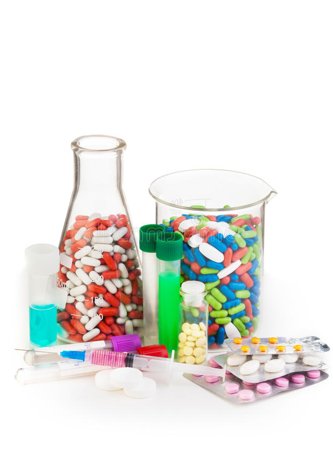 Boccette in pieno delle droghe e dell'altra medicina immagine stock libera da diritti