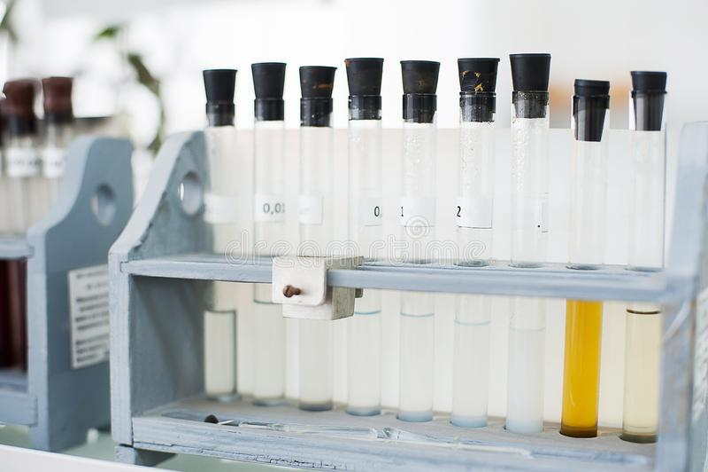 Boccette vuote Attrezzatura di analisi del laboratorio Laboratorio chimico, prova-tubi della cristalleria immagini stock libere da diritti