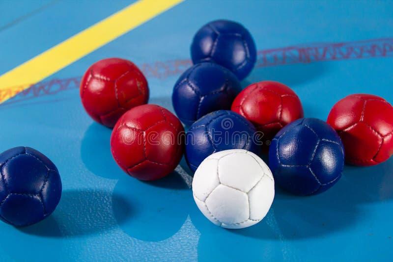 Boccia Sluit omhoog van kleine ballen voor het spelen boccia tricolor royalty-vrije stock fotografie