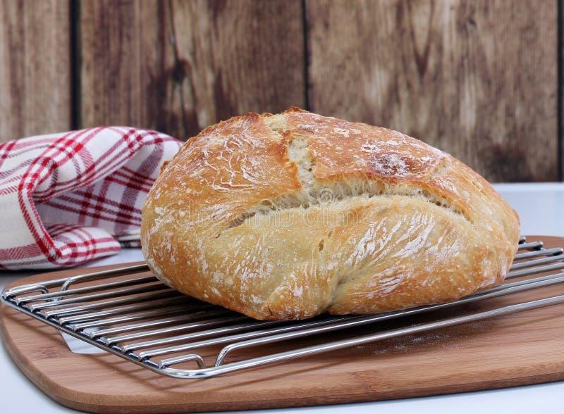 Bochenek świeży piec rzemieślnika chleb na chłodniczym stojaku zdjęcia stock