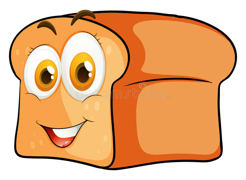 Bochenek chleb z szczęśliwą twarzą ilustracji