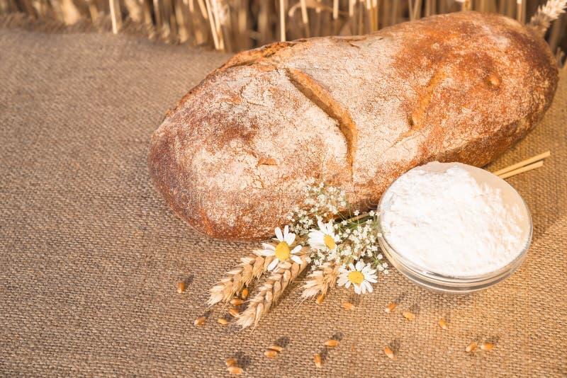 Bochenek chleba lying on the beach na stołu i mąki naczyniu fotografia royalty free