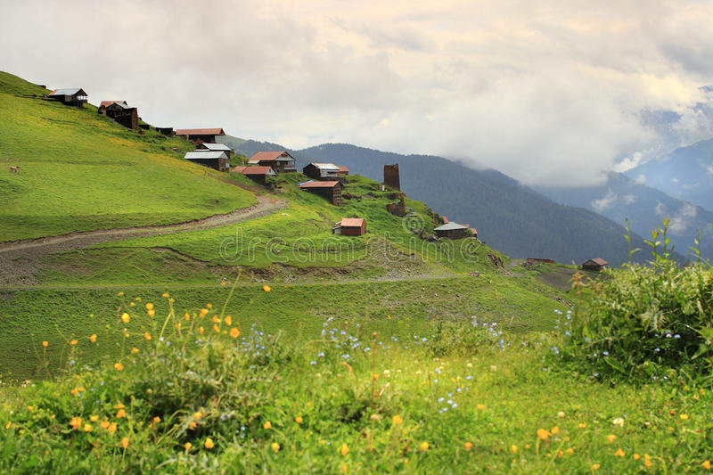 Bochorna village. Tusheti region (Georgia). Tusheti is a historic region in northeast Georgia. Located on the northern slopes of the Greater Caucasus Mountains royalty free stock photography