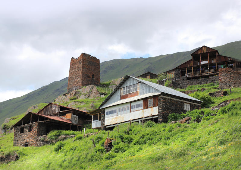 Bochorna village. Tusheti region (Georgia). Tusheti is a historic region in northeast Georgia. Located on the northern slopes of the Greater Caucasus Mountains royalty free stock photo