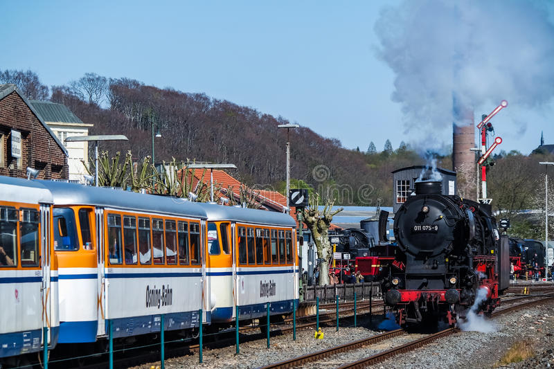 Bochum , Germany - April 18 2015 : Steam train passing the station in Dahlhausen stock images