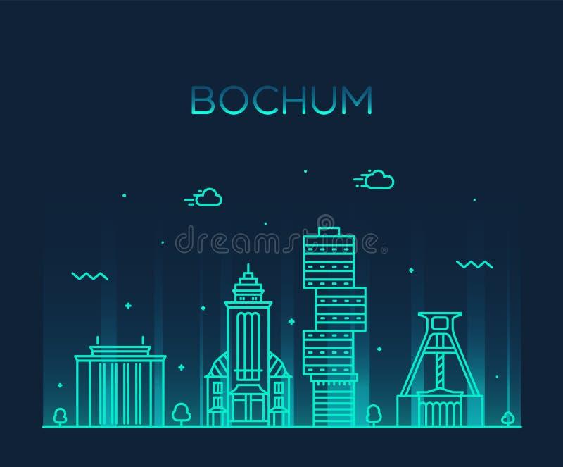 Bochum linia horyzontu Niemcy wektorowego miasta liniowy styl ilustracja wektor