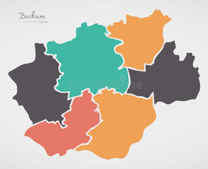 Bochum Map with boroughs and modern round shapes. Illustration royalty free illustration