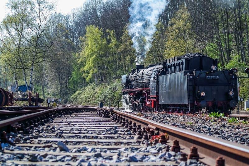 Bochum Tyskland - April 18 2015: Ångadrev som passerar stationen i Dahlhausen fotografering för bildbyråer