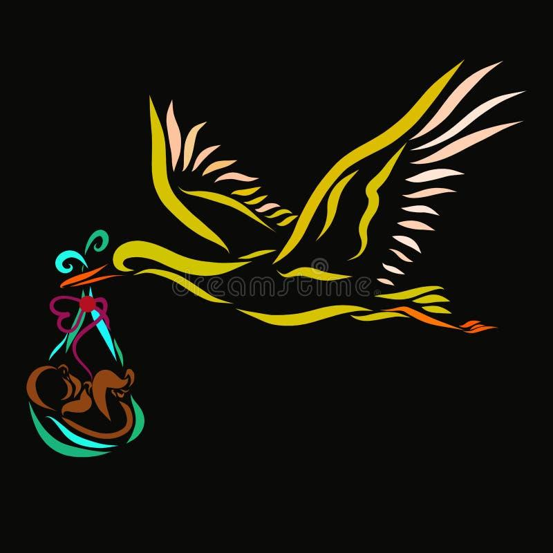 Bocian niesie nowonarodzonego, czarnego tło, royalty ilustracja