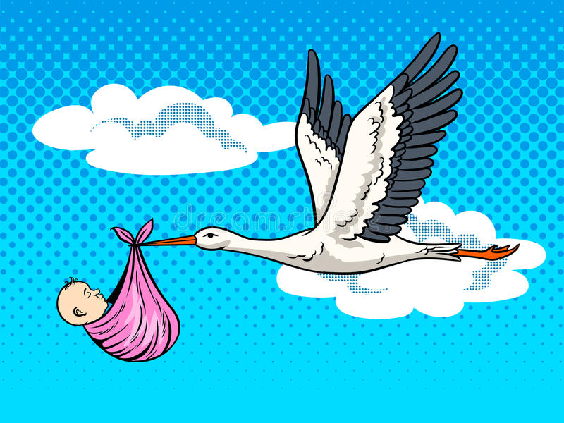 Bocian przynosi dziecko wystrzału sztuki wektoru ilustrację ilustracja wektor