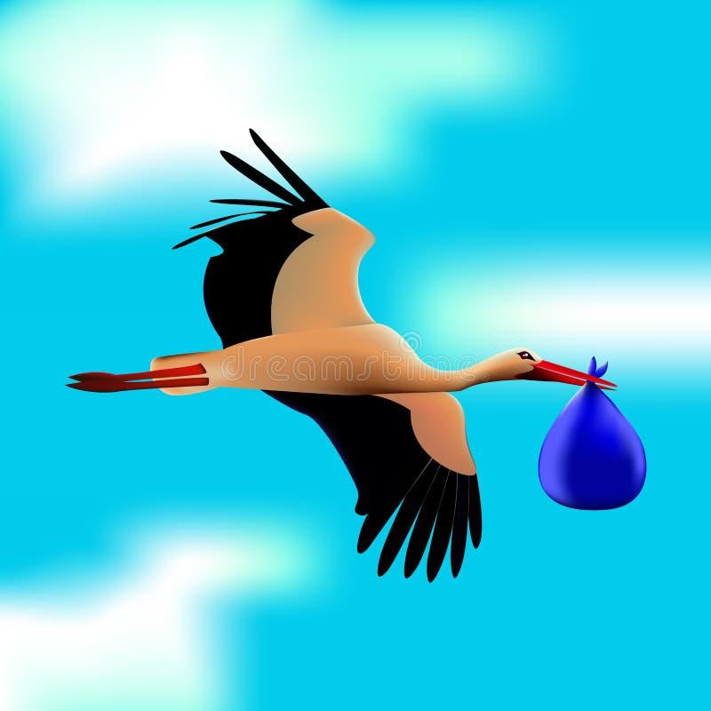 Bocian w niebieskim niebie ptak trzyma plika w swój belfrze royalty ilustracja