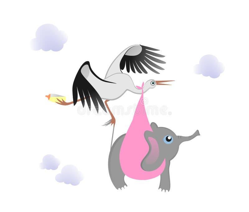 Bocian z dziecko słoniem ilustracja wektor