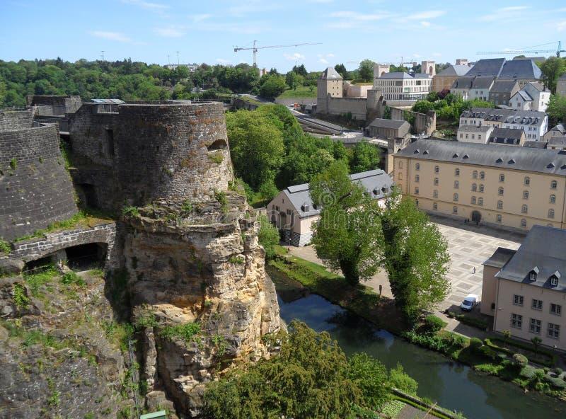 Bock kazamaty i Niski miasto, UNESCO światowego dziedzictwa miejsce w Luksemburg mieście zdjęcie stock