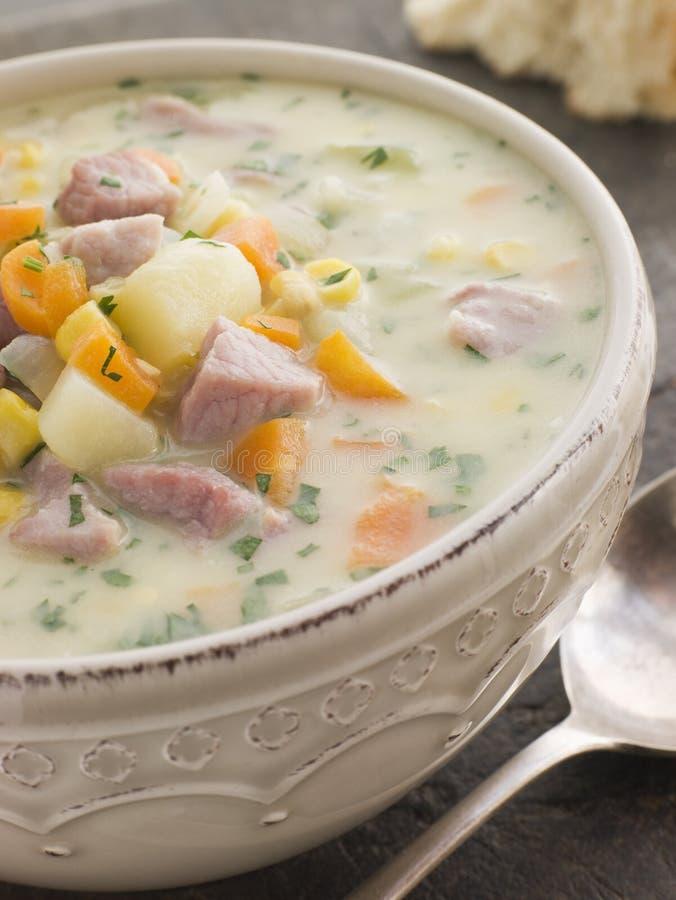 boczek miski zupy rybnej grubą kukurydzę chlebowa sodomy zdjęcia stock