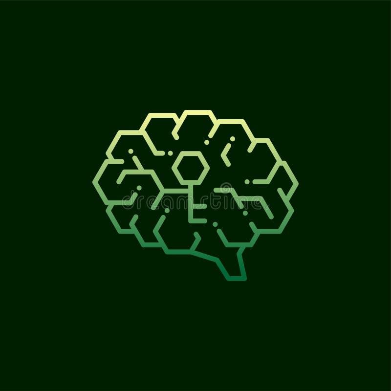 Boczna Móżdżkowa logo ikona z kluczowym symbolem, sekrety umysłu pojęcia projekta ilustracja zielona i żółty gradientu kolor odiz ilustracja wektor