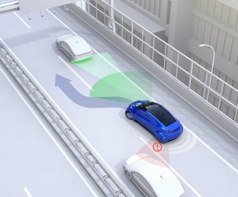 Bocznego widoku asysty system unika wypadek samochodowego gdy zmieniający pas ruchu ilustracji