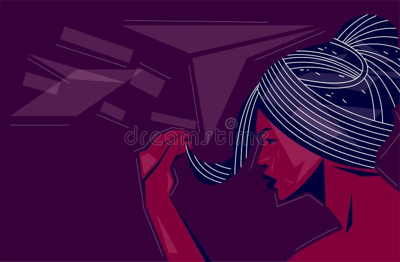 Bocznego widoku kobiety twarz na abstrakcjonistycznym tle ilustracja wektor